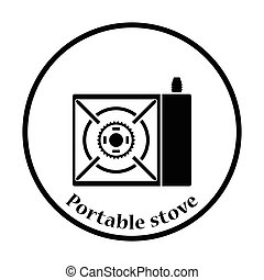 Camping gas burner stove icon Thin circle design Vector...