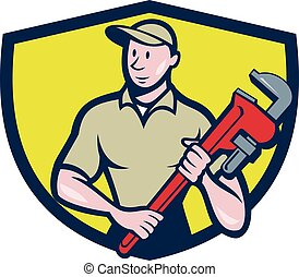 Plumber Holding Monkey Wrench Crest Cartoon - Illustration...