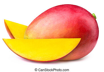 Mango with two slices isolated on white background, with...