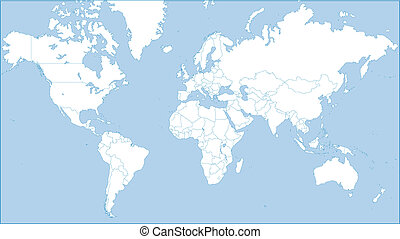 world map - World map of continents on blue background