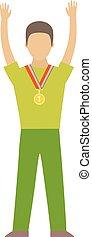 Winning runner winners, success sport flat vector.