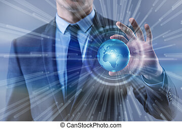 Businessman in globalisation global business concept