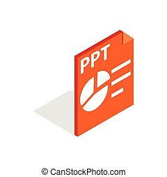 PPT file extension icon, isometric 3d style - PPT file...