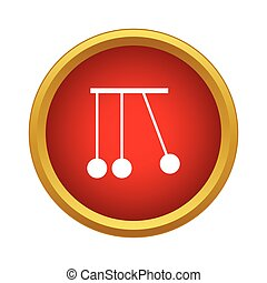 Pendulum of Newton icon, simple style - Pendulum of Newton...