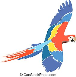 Parrot Ara in bright colors, isolated vector