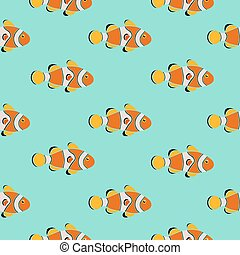Seamless pattern clownfish, vector