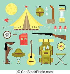 camping hiking icons set