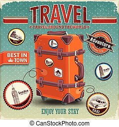 Vintage travel luggage poster with labels
