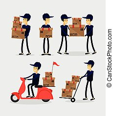 Set of cartoon characters delivery service