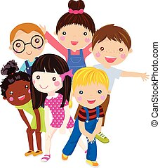 group of girl children having fun vector illustration