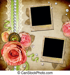 Vintage background with roses, lace, ribbon, pearls