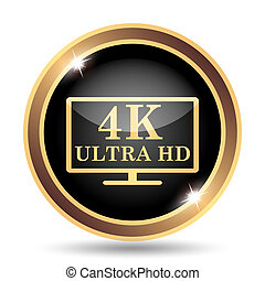 4K ultra HD icon Internet button on white background