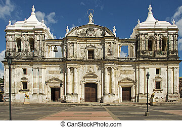 Facade of Nicaraguan cathedral - Front view of cathedral in...