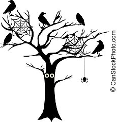 spooky tree - vector tree with spiders and crows
