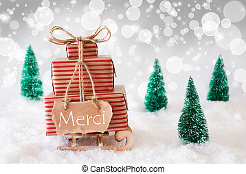 Christmas Sleigh On White Background, Merci Means Thank You...