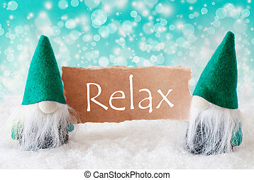Turqoise Gnomes With Card, Relax - Christmas Greeting Card...
