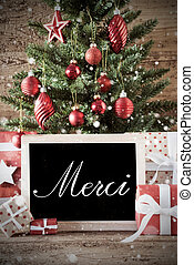 Nostalgic Christmas Tree With Merci Means Thank You -...