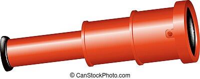 Vintage spyglass in red design