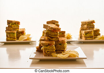 Clubhouse sandwiches photo - Photograph image of several...