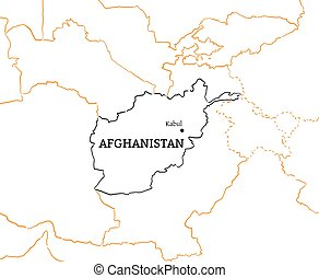 Afganistan hand-drawn sketch map - Afganistan country with...
