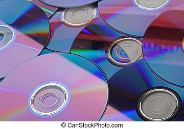 Many CDs isolated on the white background