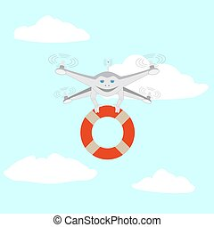 Drone and lifeline. Rescue on the water. Series cartoon...