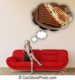 Woman Craving Grilled Sandwich and Thinking About Eating...