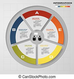 Abstract 5 steps pie chart presentation. EPS10.