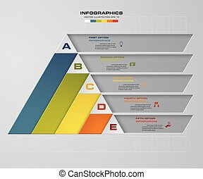 Abstract pyramid shape layout with 5 steps clean number...