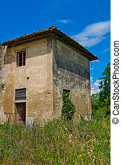 Building degraded invaded by plants - abandoned building and...