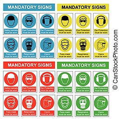 Health and safety sign collection - Four colour mandatory...