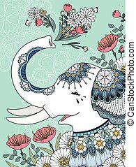 white elephant coloring page