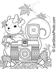 Adorable squirrel coloring page with camera elements