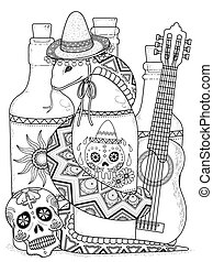 Mysterious snake coloring page in Mexican style