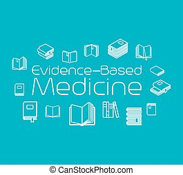 Evidence-based medicine concept illustration with books...
