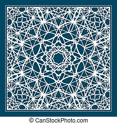 Blue scarf design with geometric pattern