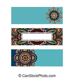 Horizontal banner mandala ornament template - Horizontal...