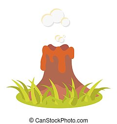 Cartoon volcano eruption vector illustration Isolated...
