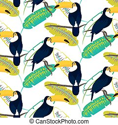 Toco toucan bird on banana leaves seamless vector pattern. -...