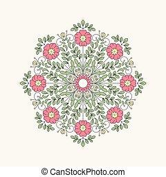 Vintage round flower for design. 10 eps.