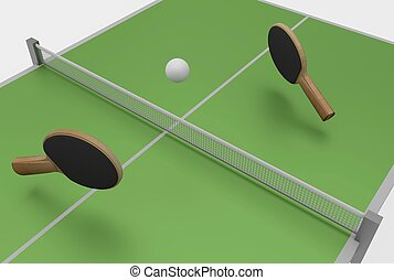 ping pong and table - two ping pong rackets, ball and table,...