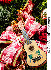 Ukulele on Christmas tree - Hawaiian ukulele and large...