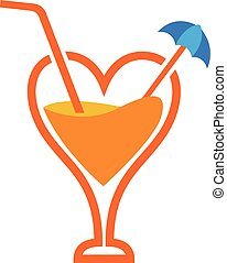 Orange Juice Love - Vector Design of Orange Juice Love
