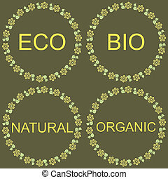 Eco Labels Collection - Eco Bio Natural Organic Labels green...