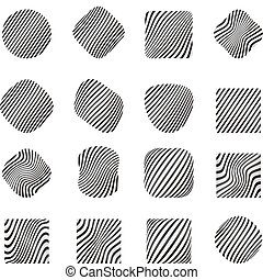 Design elements with zebra pattern. set.