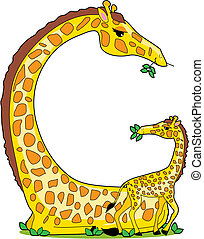 Animal Alphabet G - A giraffe and her baby in the shape of...
