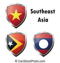 Set flag iconVietnam, East Timor, Laos Vector illustration
