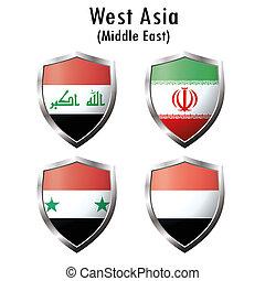 Set flag iconIraq, Iran, Syria, Yemen Vector illustration