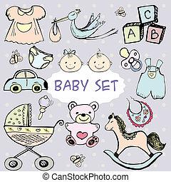 recién nacido, lindo, Conjunto, iconos, bebé