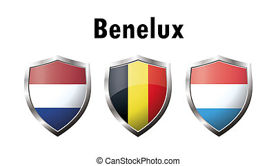 A set of Benelux countries flag icon Netherlands,...